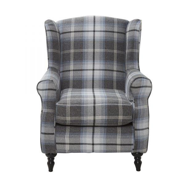 Fire Side Chair Tartan Grey