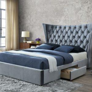 Artisan Fabric Drawer Bed Silver