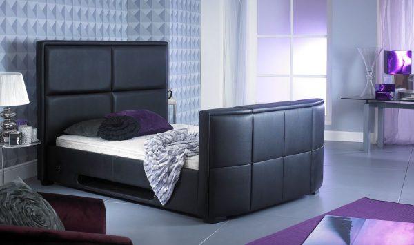 Bonded Leather TV Bed Black