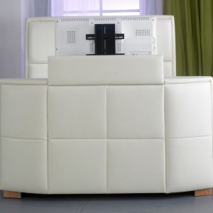 Bonded Leather TV Bed Close Up Ivory TV Out
