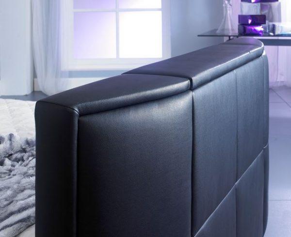 Bonded Leather TV Bed Footboard Close Up Black