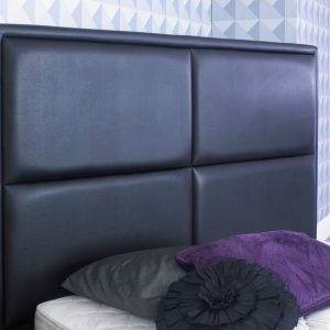 Bonded Leather TV Bed Headboard Close Up Black