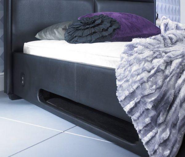 Bonded Leather TV Bed Side Close Up Black