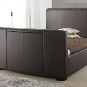Brown Leather TV Bed Closed