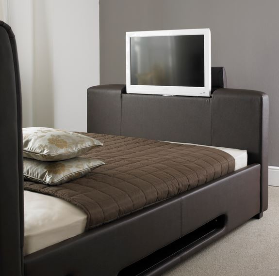 Brown Leather TV Bed Open