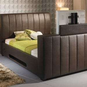 Brown Striped Leather TV Bed