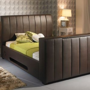 Brown Striped Leather TV Bed Closed