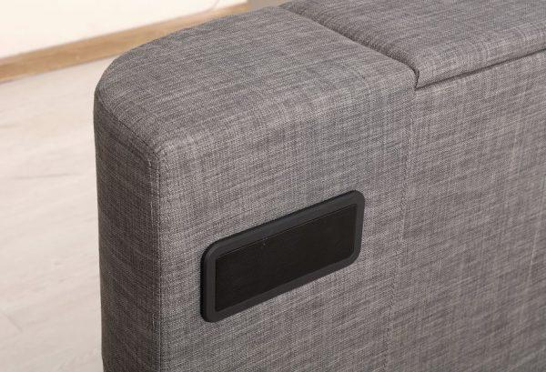 Grey Elephant Fabric Audio TV Bed Close