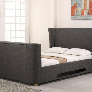 Grey Elephant Fabric Audio TV Bed Closed