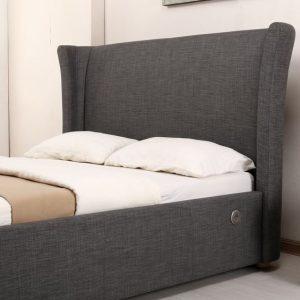 Grey Elephant Fabric Audio TV Bed Headboard Close Up