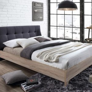 Grey Fabric and Beech Fabric Bed 2