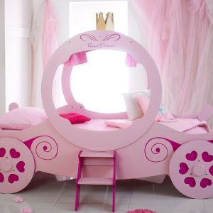 Pink Princess Carriage Car Bed Sideview